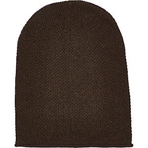 Dark brown rolled edge beanie hat
