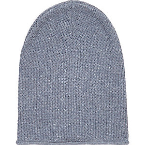 Blue rolled edge beanie hat