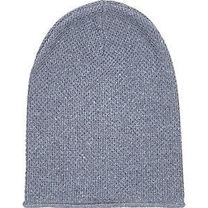 Blue rolled edge beanie hat