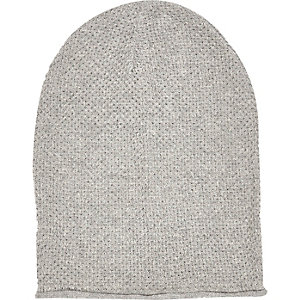 Light grey rolled edge beanie hat