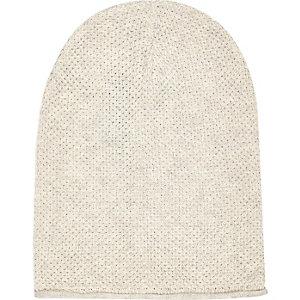 Ecru rolled edge beanie hat