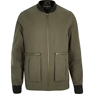 Green bomber large pocket jacket