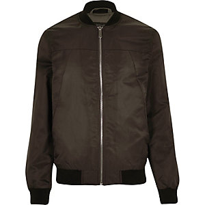 Dark brown casual bomber jacket