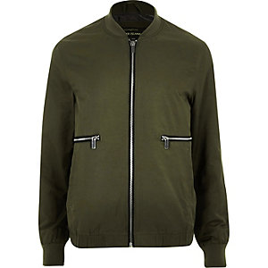 Green zip front bomber jacket
