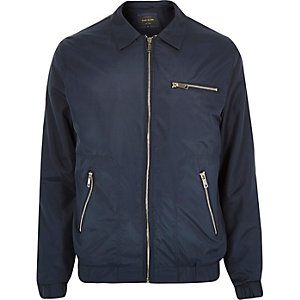 Navy blue collar bomber jacket