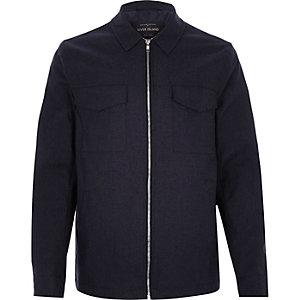 Navy minimal zip-up jacket