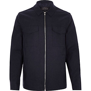Navy minimal zip-up jacket