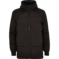 Black casual padded winter coat