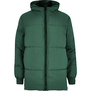 Green quilted padded winter coat