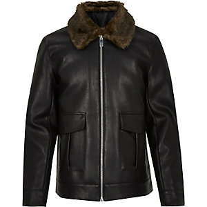 Black leather-look zip-up jacket