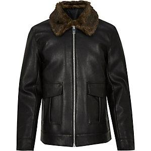 Veste zippée en cuir synthétique noir