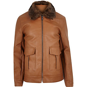 Brown leather-look jacket