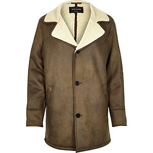 Brown fleece-lined coat