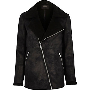 Black shearling coat