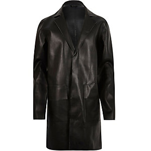 Black leather-look overcoat