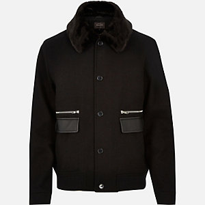 Black wool-blend smart winter jacket