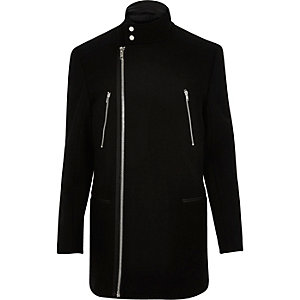 Black smart wool-blend winter coat