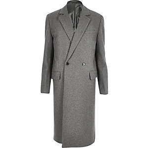 Grey wool-blend smart overcoat