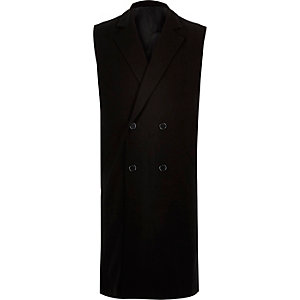 Black smart double breasted sleeveless jacket