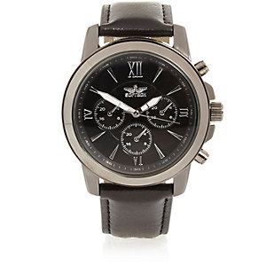 Black Roman numeral watch