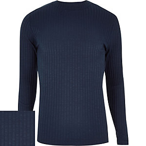 Navy chunky ribbed turtle neck