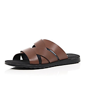 Brown cross strap mule sandals