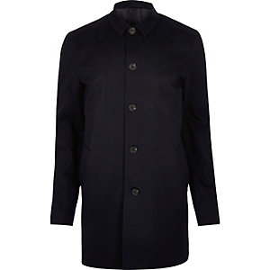 Navy smart button up overcoat
