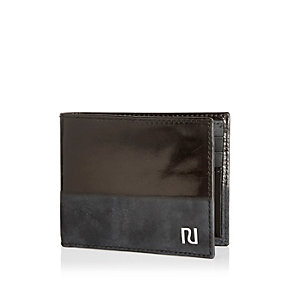 Black leather half patent wallet