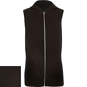 Black sleeveless zip-up hoodie
