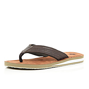 Brown wedge flip flops
