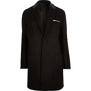 Black smart wool-blend overcoat
