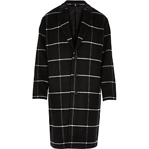 Black smart check wool-blend overcoat