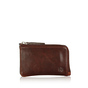 Dark brown leather mini zip wallet