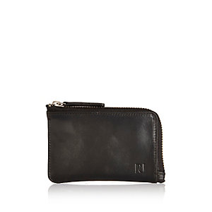 Black leather mini zip wallet