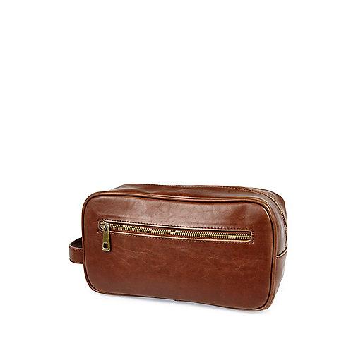 Light brown zip up wash bag