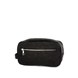 Black rubberised zip up wash bag