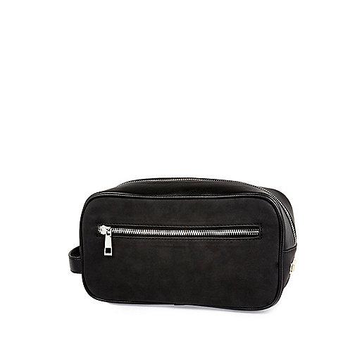 Black rubberised zip up wash bag