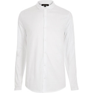 White casual button through jersey shirt