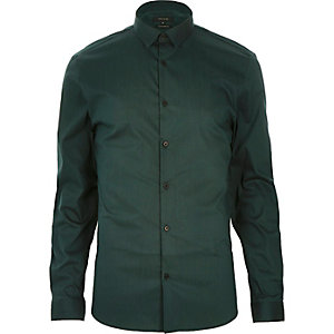 Green stretch long sleeve shirt