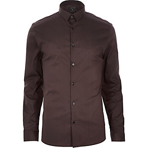 Brown stretch long sleeve shirt