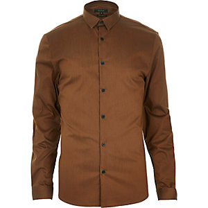 Rust brown stretch long sleeve shirt