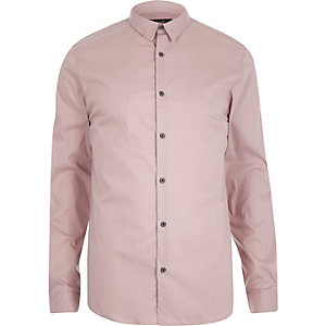 Pink stretch long sleeve slim shirt