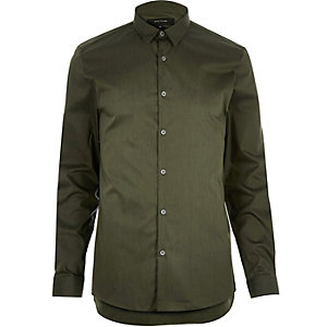 Green stretch slim shirt