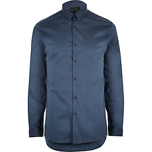 Blue stretch slim shirt