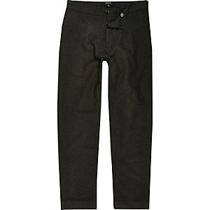 Khaki wool-blend warm handle joggers