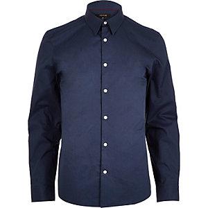 Navy twill slim fit shirt