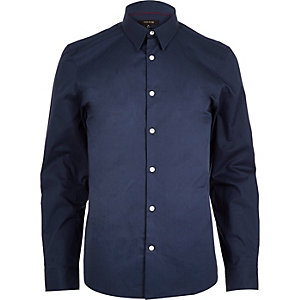 Navy twill slim shirt