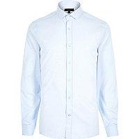 Light blue twill slim fit shirt