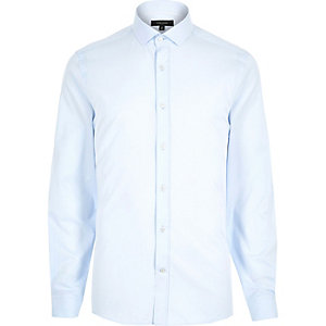 Light blue twill slim shirt