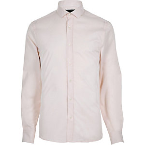 Light pink twill slim shirt